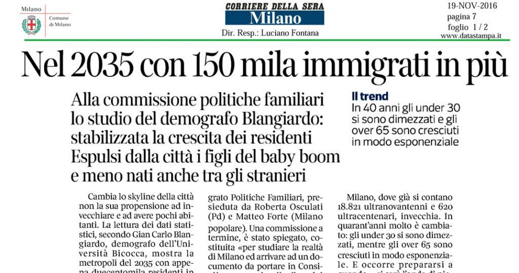 Nel 2035 con 150mila immigrati in più - Corriere della Sera