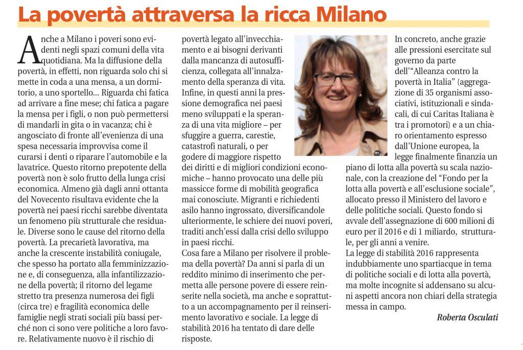 La povertà attraversa la ricca Milano – in Il Sicomoro, 6/2016 – Roberta Osculati