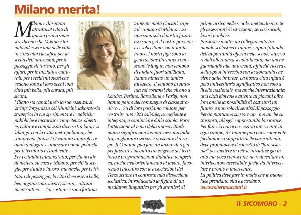 Milano merita! - in Il Sicomoro 8/2016 - Roberta Osculati