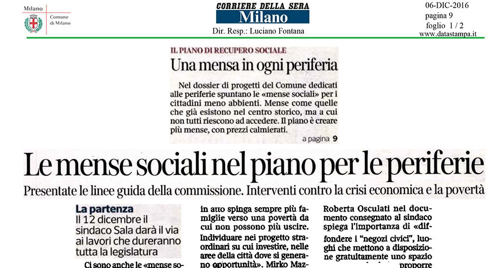 Le mense sociali nel piano per le periferie - in Corriere della Sera 06 Dicembre 2016