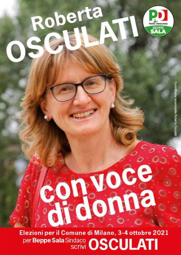 fronte del volantino di Roberta Osculati per le elezioni 2021