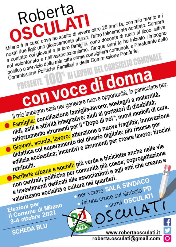 retro del volantino di Roberta Osculati per le elezioni 2021